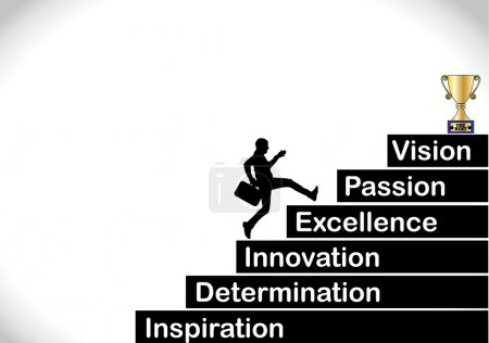 Professional businessman running up the stairs with the text inspiration, determination, innovation, excellence, passion, vision with a bright white background - concept design illustration art