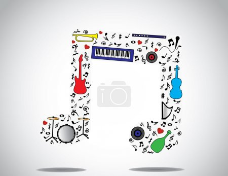 Music note icon made up of different musical instruments and notes with a bright white background : concept design illustration unusual art
