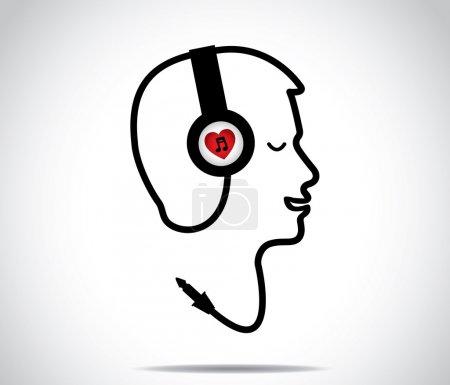 Photo pour Casque avec le symbole amour de la musique et sa corde en forme sous la forme d'un jeune homme écoutant et profiter des chansons de musique, les yeux fermés: design concept illustration illustration - image libre de droit