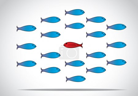 Photo for A sharp smart alert happy red fish with open eyes going in the opposite direction of a group of sad blue fishes with closed eyes : Be different or unique concept design illustration - Royalty Free Image