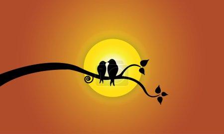 Photo pour Happy Young aime les oiseaux sur la branche de l'arbre pendant le coucher du soleil et le ciel orange. Deux silhouettes d'oiseaux juvéniles assis sur une branche d'arbre feuillu contre une belle illustration de concept de soleil jaune vif - image libre de droit