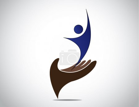 Photo for Successful talent management of young person and woman concept. happy young male or female silhouette expressing joy with both hands up from a protective hand providing safety art illustration - Royalty Free Image