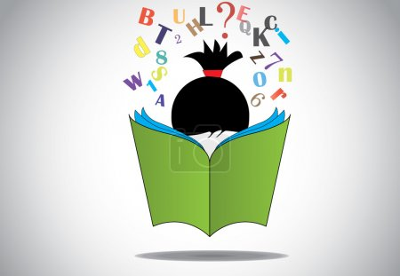 Young smart girl kid reading 3d green open book education concept. black haired child with book studying & learning for exams & fun with alphabets and numbers. learn or educate illustration art