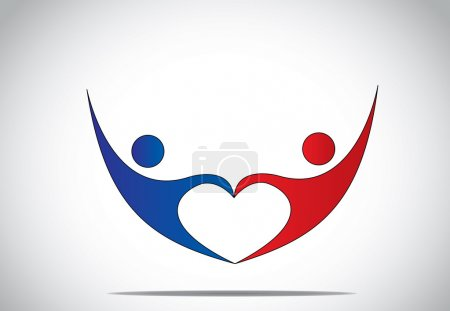 Photo for Young man & woman couple dance & hold hands in love heart shape. blue and red colored happy male and female person symbols dancing and jumping with joy and happiness with hands up - concept symbol - Royalty Free Image