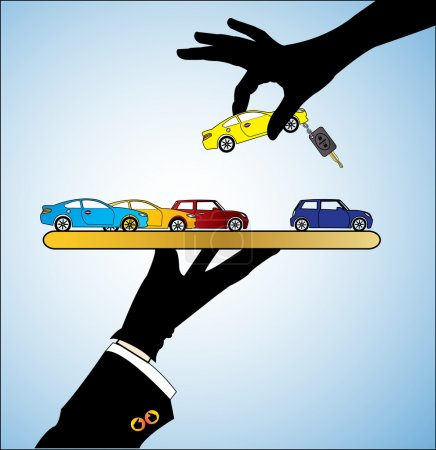 Illustration concept of Buying Car or Renting Car Customer Selecting a bright colored Car of her choice from a set of different Cars offered to him by the Car Dealer