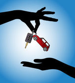 Concept Illustration of Car Sale - Silhouette Human hands exchanging modern car keys with automatic locking system and red car symbol