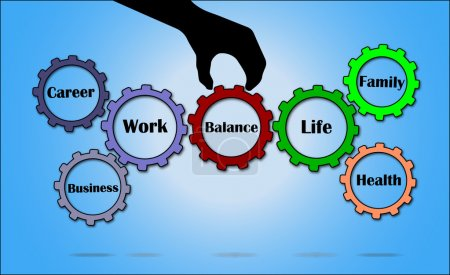 Illustration for A hand silhouette placing balance gear in between work and life gears with bright glowing white background - work life balance concept illustration vector design art - Royalty Free Image
