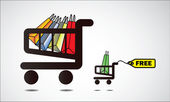 Shopping Cart Illustration - Get something free for every big shopping