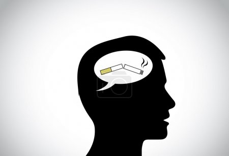 Man silhouette thinking positively of quiting smoking thought. black young male person head silhouette with white talk bubble callout having a broken cigarette - quit smoking concept illustration