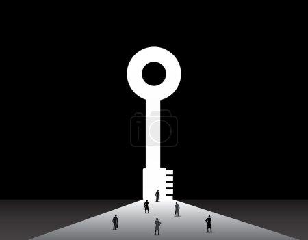 Illustration pour Les hommes et les femmes d'affaires debout devant la grande porte clé de succès. hommes d'affaires et femmes d'affaires bien habillés debout, pensant, rêvant, planifiant devant le concept de grande porte clé en forme réussie - image libre de droit