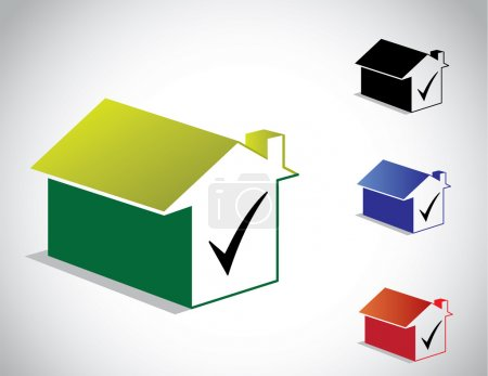 Illustration for Colorful perfect green home house icon & right tick symbol set - Royalty Free Image