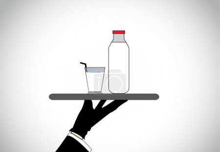 Waiter hand present fresh healthy organic Milk glass and bottle. Professional well dressed person hold serving full bottle and glass of healthy fresh organic soy milk - concept illustration