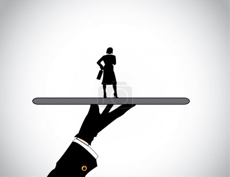 Hand silhouette presenting dressed professional business woman. A head hunter presenting the best well dressed female candidate or business person perfectly suited for the job or work