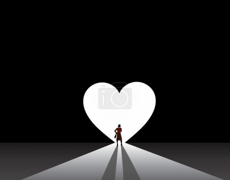 Well dressed woman silhouette stand front of big love heart door. stylish nicely dressed business woman in suit stand thinking in front of bright white love or heart symbol shaped door