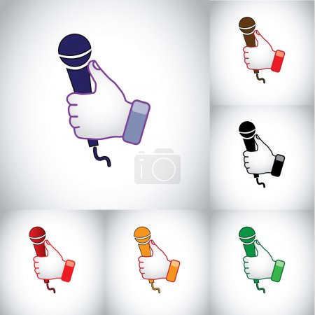 Thumbs up hand illustration symbol with karaoke mic microphone. colorful blue red black hands holding on a speaker or microphone recording instrument for speaking or singing on a karaoke night concept
