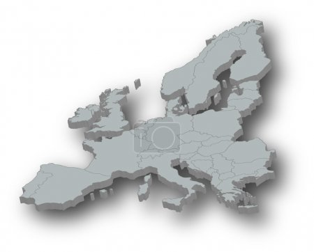 Illustration for Map of Europe, with countries. 3D - Royalty Free Image