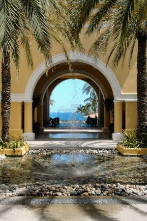 View of ocean through archway in Cabo San Lucas, Mexico