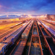 Cargo train platform at sunset with container...