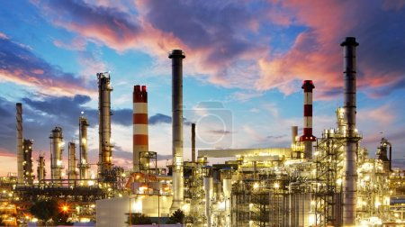 Photo for Oil and gas industry - refinery at twilight - factory - petrochemical plant - Royalty Free Image