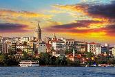 """Постер, картина, фотообои """"Стамбул на закате - район Галата, Турция"""""""