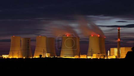 Photo for Nuclear power plant by night - Royalty Free Image