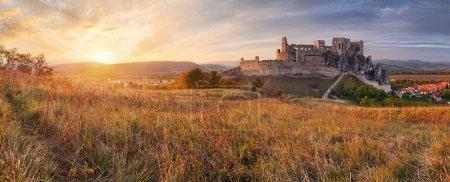slovakia castle beckov sunset nature