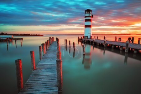 Photo for Lighthouse at Lake Neusiedl at sunset - Royalty Free Image