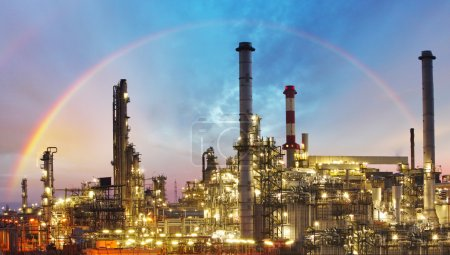 Photo for Oil and gas industry factory - refinery at rainbow - Royalty Free Image