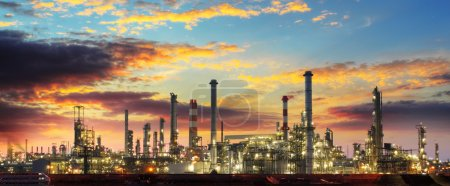 Photo for Oil refinery industrial plant at night - Royalty Free Image
