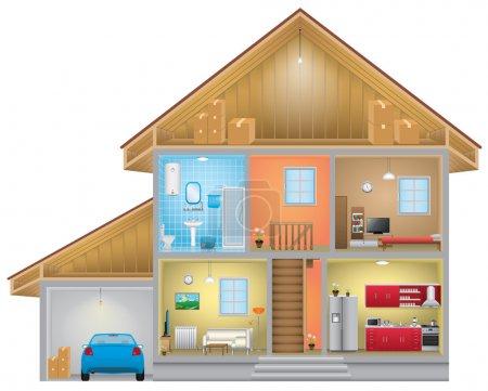 Illustration pour Intérieur de la maison détaillée, vecteur eps 10. - image libre de droit