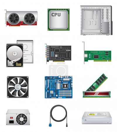 Illustration for Computer parts icon set isolated on white background. - Royalty Free Image