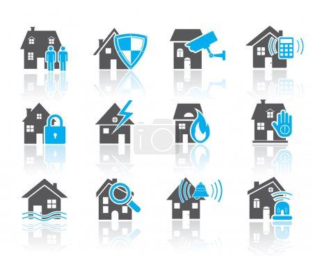 Illustration pour Icônes de sécurité de la maison en gris et bleu, vecteur eps 10 . - image libre de droit