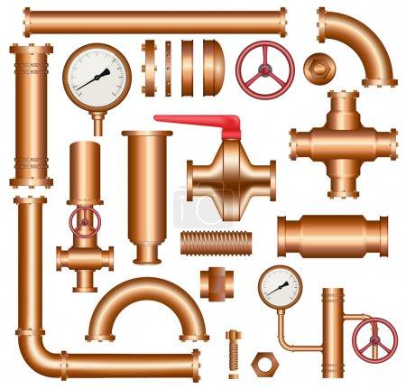 Illustration pour Ensemble d'éléments de canalisation en cuivre isolés sur fond blanc, vecteur eps 10 . - image libre de droit