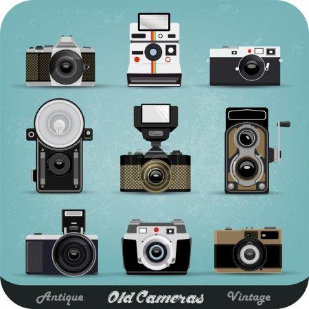 Set Of Vintage Cameras Background