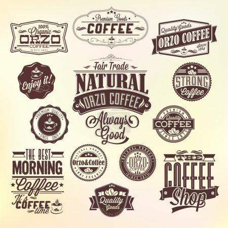 Photo pour Ensemble d'étiquettes de café Orzo rétro vintage. Ensemble d'éléments calligraphiques et typographiques design stylisé, cadres, étiquettes vintage . - image libre de droit