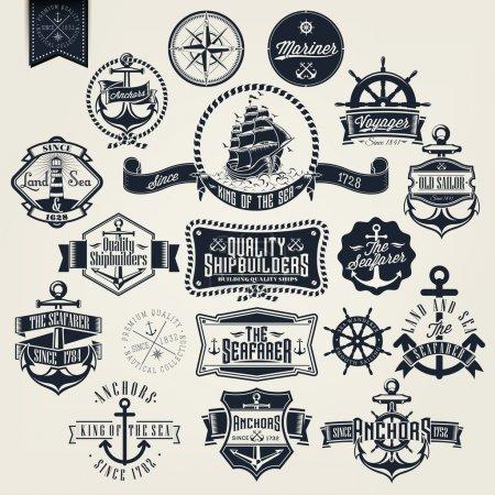 Photo pour Ensemble De Blaireau Nautique Rétro Vintage Et Étiquettes - image libre de droit