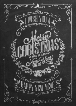 Photo for Vintage Christmas And New Year Background With Typography On Blackboard With Chalk - Royalty Free Image