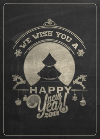 Photo for Vintage New Year Background With Typography On Blackboard With Chalk - Royalty Free Image