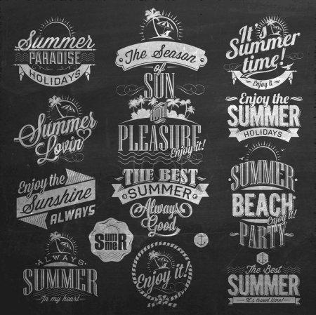 Photo pour Éléments rétro pour dessins calligraphiques de l'été sur tableau noir - image libre de droit