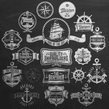 Photo for Set Of Vintage Retro Nautical Badges And Labels On Chalkboard - Royalty Free Image