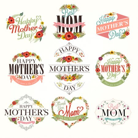 Vintage Happy Mothers Day Typographical Labels Set