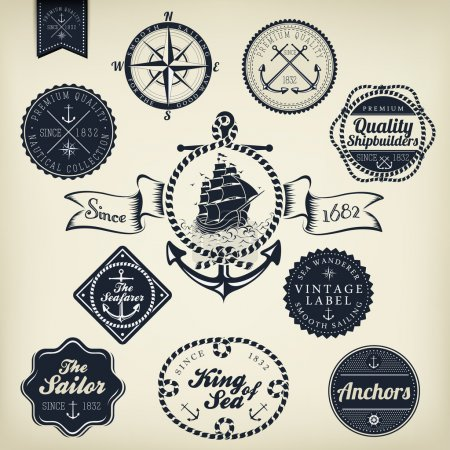 Retro Nautical Badges And Labels