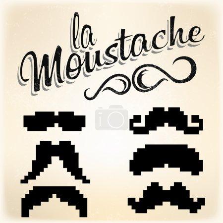 Pixel Mustache set