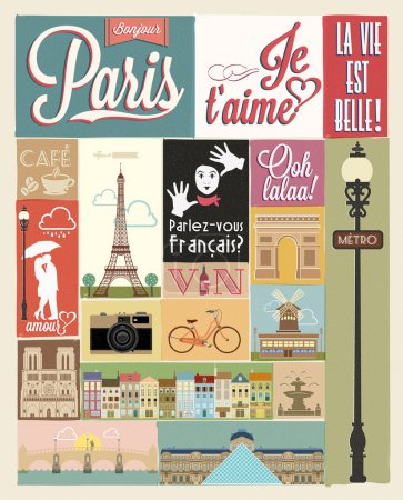 Illustration for Typographical Retro Style Poster With Paris Symbols And Landmarks - Royalty Free Image