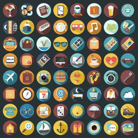 Illustration for Set of 64 Flat Quality Travel Map Icons - Royalty Free Image