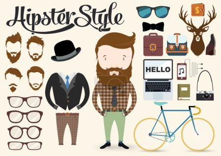 Illustration for Hipster character illustration in info graphic concept background with hipster elements and icons - Royalty Free Image
