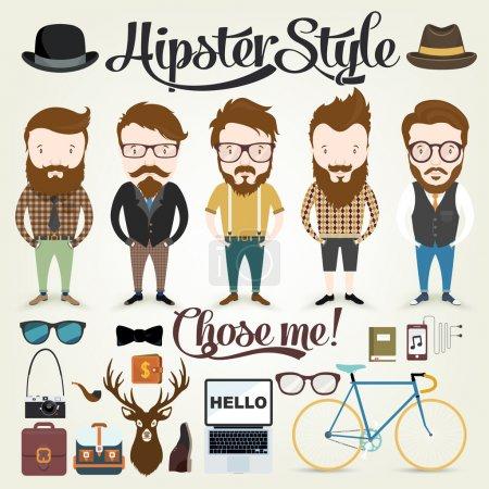 Illustration pour Illustration de personnages hipster en fond de concept graphique info avec éléments et icônes hipster - image libre de droit