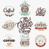 Set Of Vintage Retro Coffee Labels