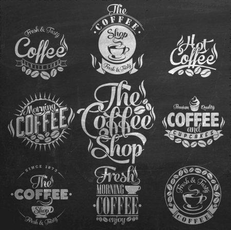 Illustration pour Ensemble d'étiquettes de café rétro vintage sur tableau. Collection de décoration café. Ensemble d'éléments calligraphiques et typographiques design stylisé, cadres, étiquettes vintage. Vecteur . - image libre de droit