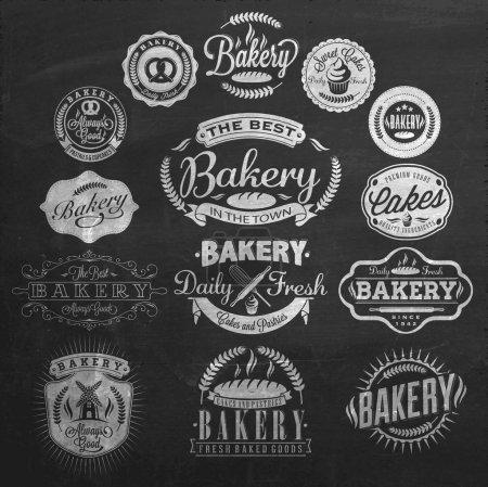 Illustration pour Badges et étiquettes de boulangerie rétro vintage sur tableau - image libre de droit